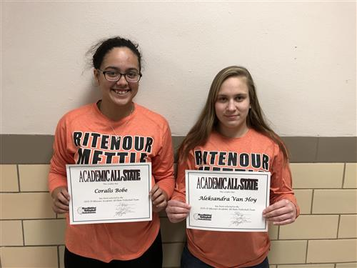 Academic All-State students Coralis Bobe and Aleksandra Van Hoy