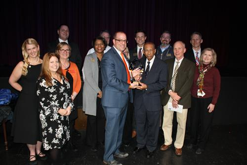 Ritenour Board of Education and administrators receive the STLCC Partnership Award.