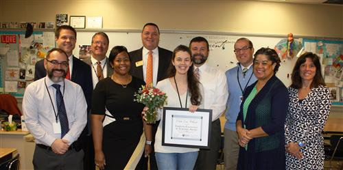 Colette Love Hilliard, RHS English language arts teacher, is recognized by administrators for earning the Emerson Award.