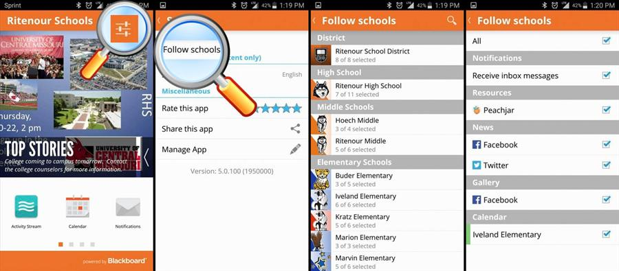 How to follow schools on the Ritenour App