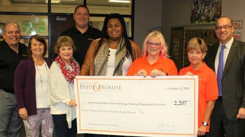 "The Prize Patrol surprised 2019 Ritenour Teacher of the Year Shenee McCoy with $2,207 for her grant submission ""Empowering Student Voices with Design Thinking, Blogging and Podcasting"""