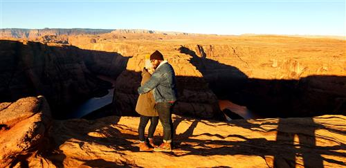 Givens couple at Horseshoe Bend in Page, Ariz.